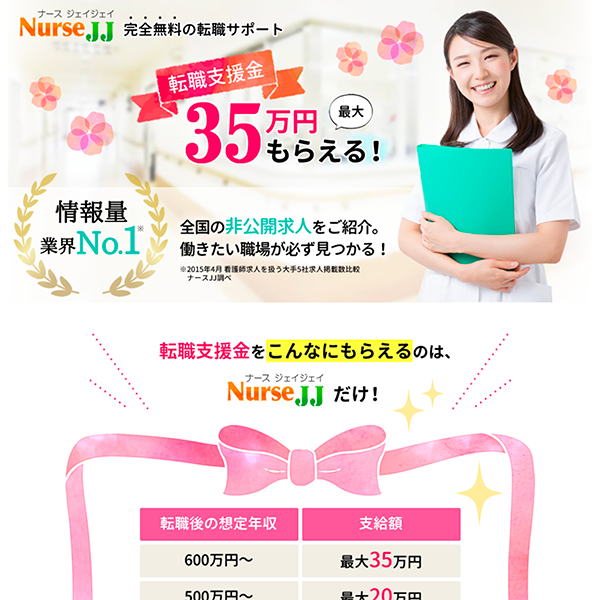 看護師転職サイト ナースJJ