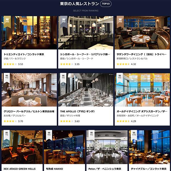 贅沢なレストランもネット予約で割引価格に